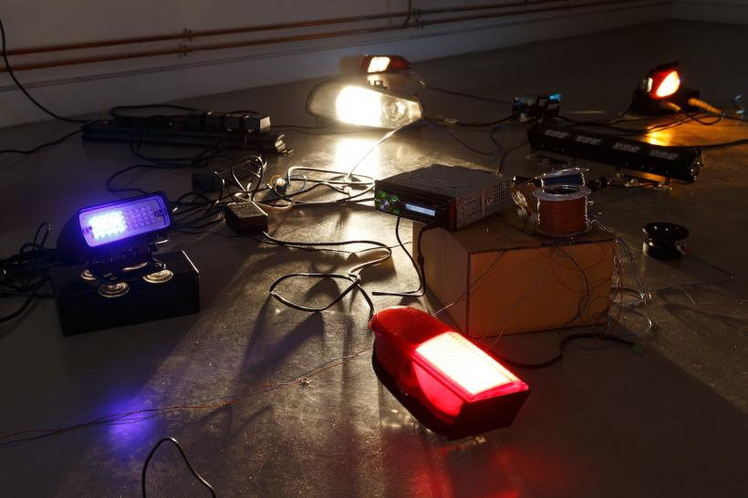 Paul Elliman, Beyond Police Call, 2013, collection of adapted emergency vehicle lights and sirens. Photograph Julian Lister