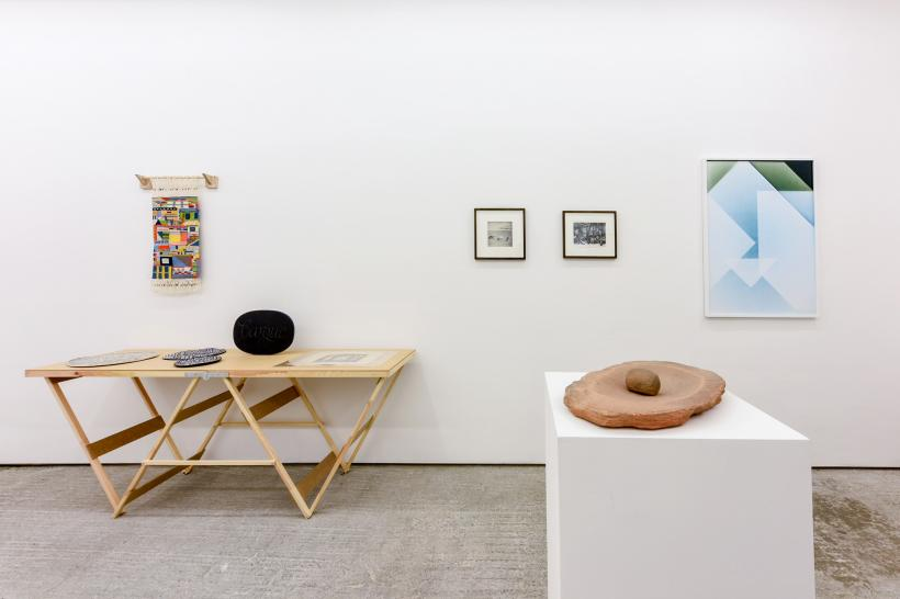 L-R: Katie Schwab (2015), Ian Hamilton Finlay (c.1987, courtesy Austin Desmond, London), Antiquities of Britain (1872), Albert Renger-Patzsch (1930s), Neolithic stone grinding basin and pestle (8th - 7th millenium B.C.E., courtesy Rupert Wace Ancient