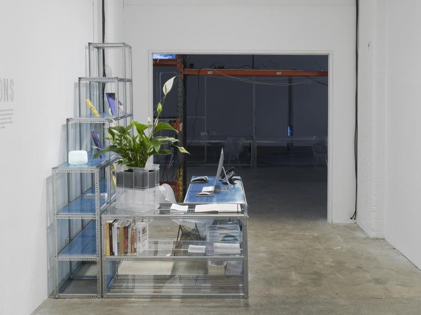 Yuri Pattison, user, space (2016). Installation view, Chisenhale Gallery, 2016. Commissioned by Chisenhale Gallery, London. Courtesy of the artist; mother's tankstation limited, Dublin; Helga Maria Klosterfelde, Berlin; and Labor, Mexico.