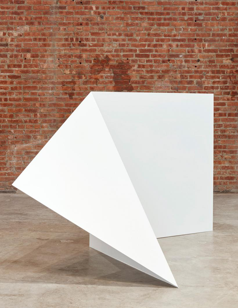 Leslie Hewitt, Untitled, 2012, installation view, Collective Stance, SculptureCenter, 2016. Sheet metal with industrial coat. Dimensions variable. Courtesy the artist and Sikkema Jenkins & Co., New York. Photo: Kyle Knodell