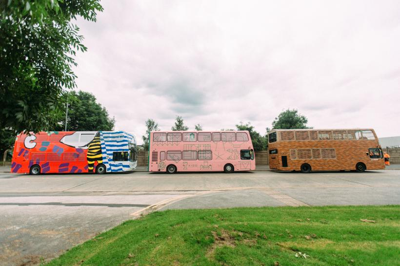 Left to right: Frances Disley, Blaze, 2016 Hato with Childwall Academy, Hello Future Me, 2016 Ana Jotta, Mrs. Muir, 2016. Liverpool Biennial in partnership with Arriva. Photo: Niall Lea