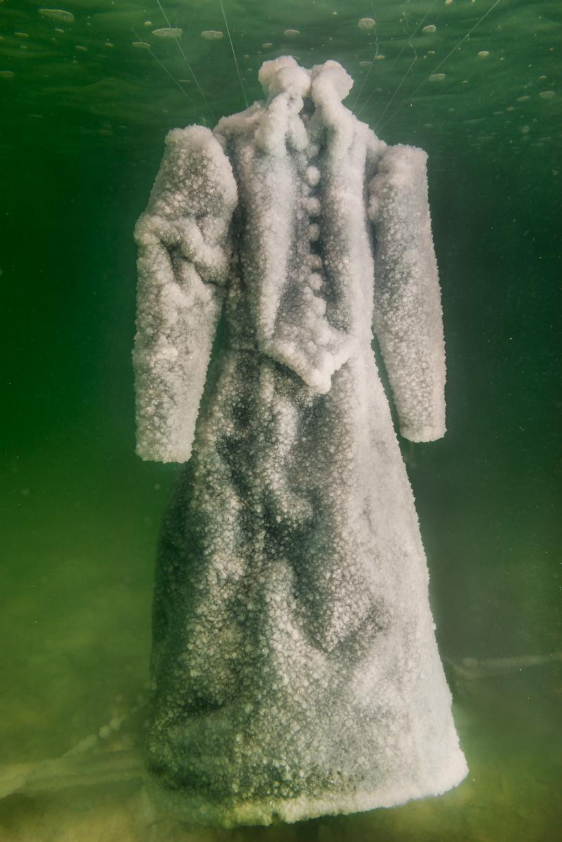 Sigalit Landau in collaboration with Yotam From, Salt Crystal Bride Gown VII, 2014, Colour Print, 163 x 109 cm