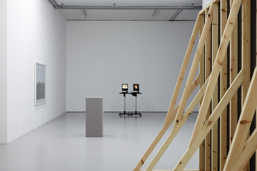 (left to right) Five Sisters. A View of the Shale Bings in West Calder (2013) Chromogenic print; Complaint (2015) Plinth, gold dust; A System for Communicating with the Ghost of Sir Christopher Wren (2014) Slide projectors, Arduino, slides; Birmingh
