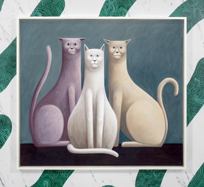 Three Cats, 2016 Pastel on canvas 135 x 150 x 7 cm 53.1 x 59.1 x 2.8 in