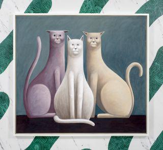 Three Cats, 2016 Pastel on canvas 135 x 150 x 7 cm 53.1 x 59.1 x 2.8 in