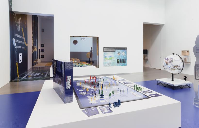Simon Denny, Blockchain Future States, Installation view, Petzel Gallery, 2016