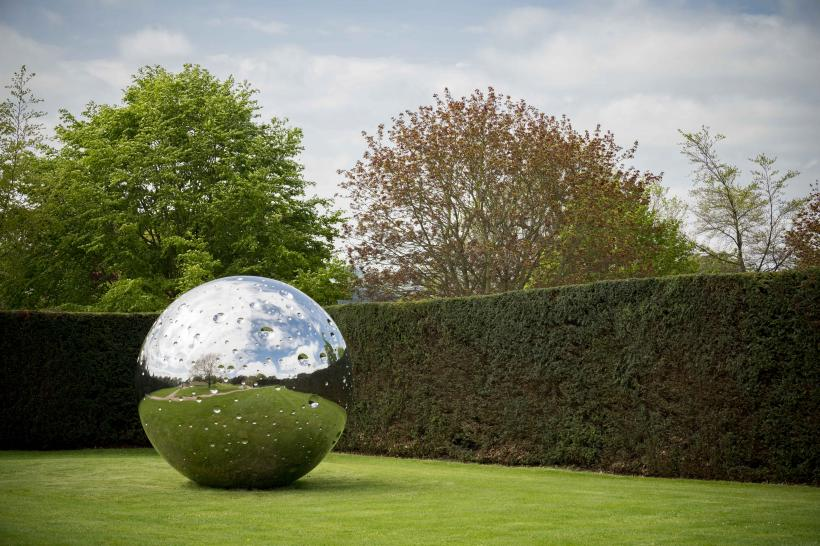 Not Vital, Moon, 2015. Stainless steel, 320cm. Courtesy the artist and YSP. Photo © Jonty Wilde