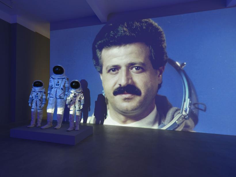 Halil Altındere, 3 Cosmonaut Family Costumes (2016) ; exhibition view  Space Refugee Neuer Berliner  Kunstverein, 2016