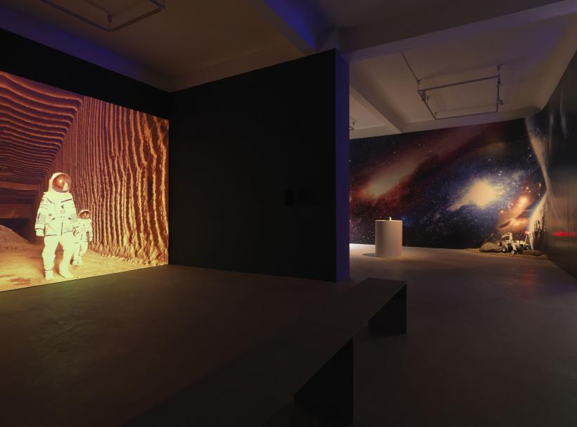 Halil Altındere, Space Refugee (2016);  Journey to Mars (2016);  Palmyra Mars Mission Rover (2016);  exhibition view  Space Refugee Neuer Berliner Kunstverein, 2016