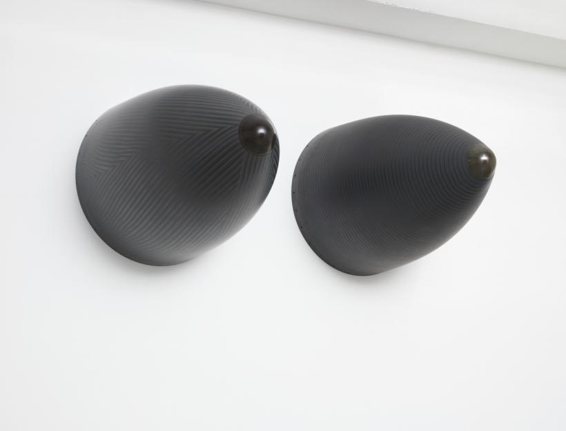 "Fiona Banner ""Nose Art"", 2016, Graphite, Harrier Jump Jet nose cones, 107 (height) 79 (diameter) cm each Exhibition view: Fiona Banner, Galerie Barbara Thumm, 2016 Photo: Jens Ziehe Courtesy the artist and Galerie Barbara Thumm"