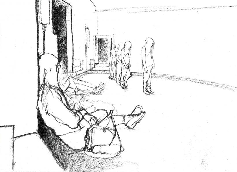 Philippe Parreno, Tino Sehgal's Annlee, drawn at Palais de Tokyo, 2013.Pencil on paper