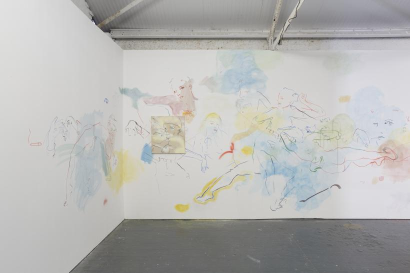 Installation view of site-specific wall mural France-Lise McGurn, Soft, psychic, sweet surprise, 2016, acrylic, spray paint and cigarettes