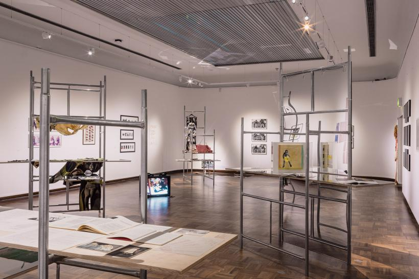 Installation view of the Chapter One exhibition for Of Other Spaces: Where does gesture become event?, October - December 2016 at Cooper Gallery. Featuring A Modular Infrastructure Acting In Concert With Cooper Gallery, 2016 by Cullinan Richards. Pho