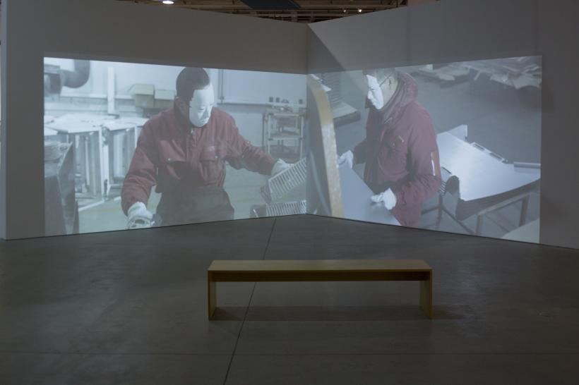 Yang Zhenzhong,  Disguise, 5-screen video installation, 2015