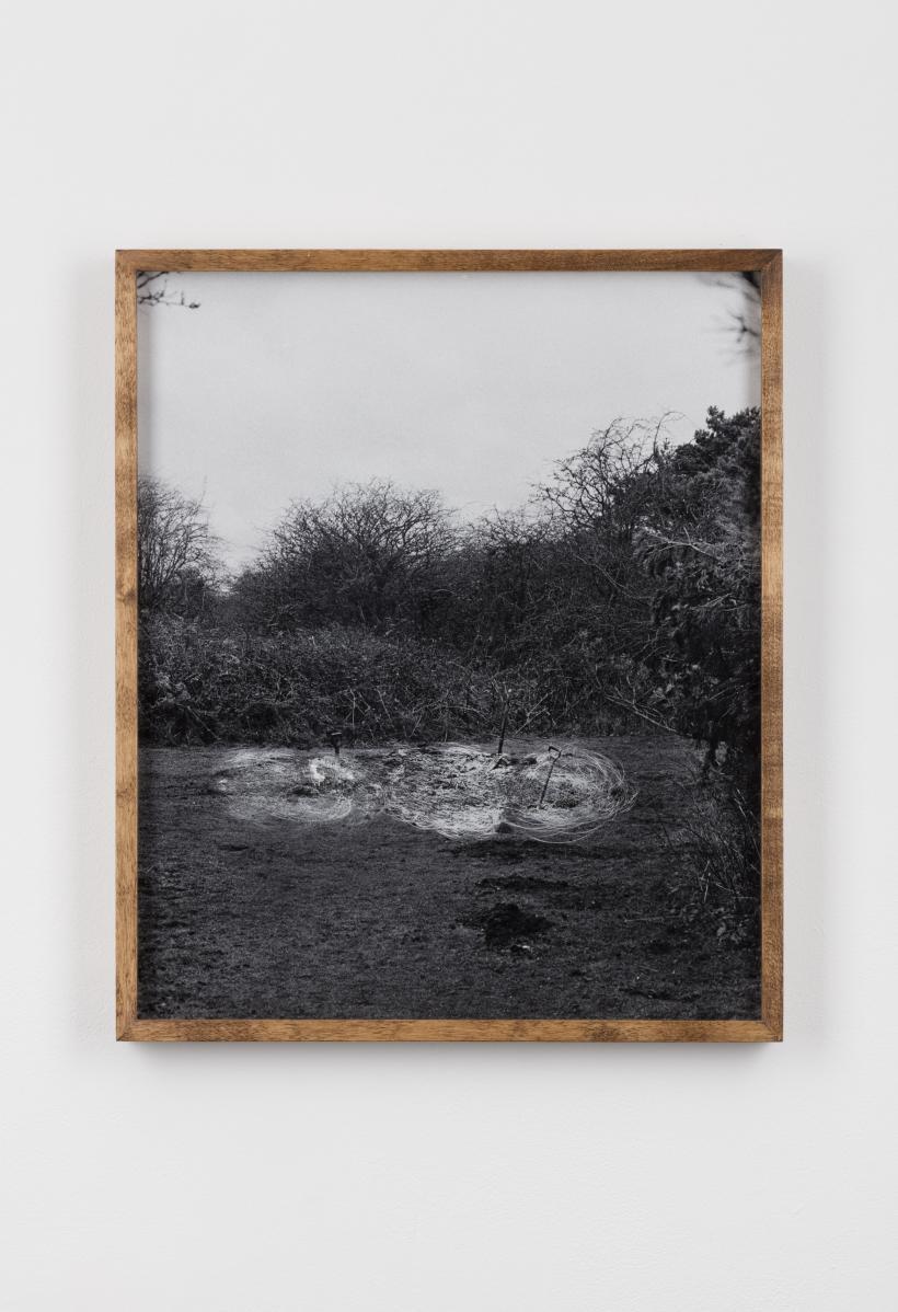 Scratched Photograph of Dig Shovel Dig, Aldeburgh Cliffs / Dig Shovel Dig, Aldeburgh Cliffs, 2014, Scratched Inkjet Print/ Framed