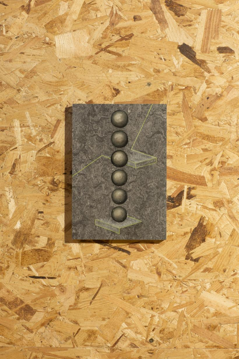 Concrete balls, 2015, oil on linoleum flooring panel.