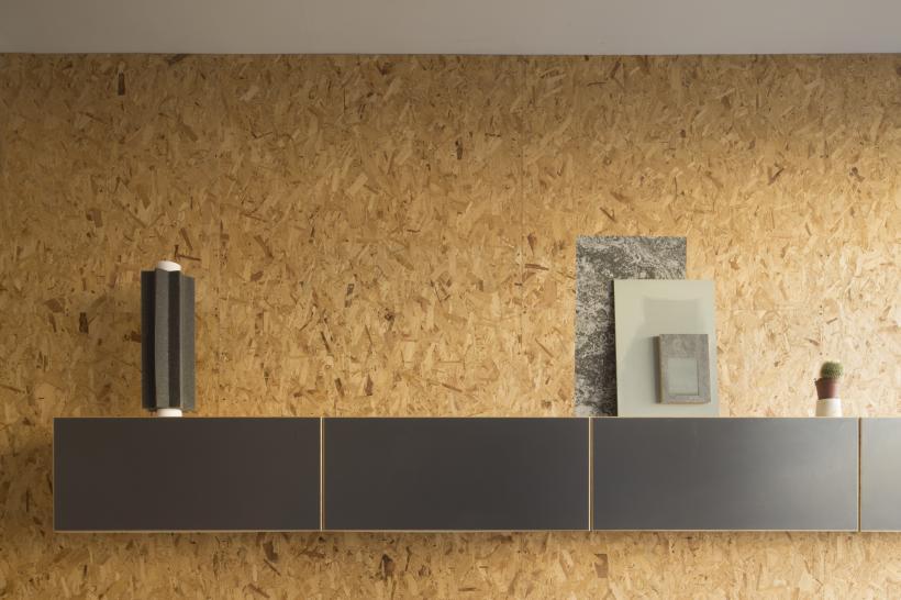 Installation view, l-r: Maquette for a giant cog, 2016, sound insulation foam, cardboard, plaster, wood; Slabs: Pigeon, 2016, Vinyl, MDF, timer, emulsion, linoleum flooring panel, oil; Untitled (1/3 Yougurt cup), 2017, plaster