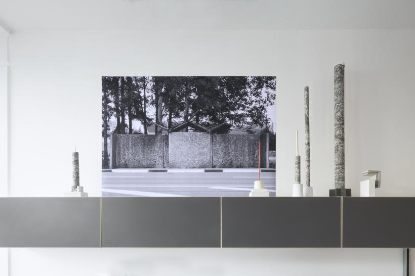 Waiting for the bus I, 2017, mixed media installation: fine art print, vinyl, cardboard, plaster, Perspex, dowels, steel, foam
