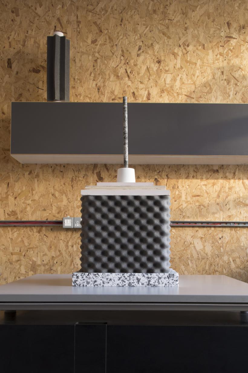 Totem VII, 2017, plywood, sound insulation foam, dowel, vinyl, plaster, MDF, polystyrene