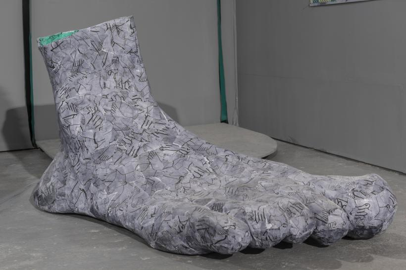 Giant Foot, 2016, paper-mache, dimensions variable