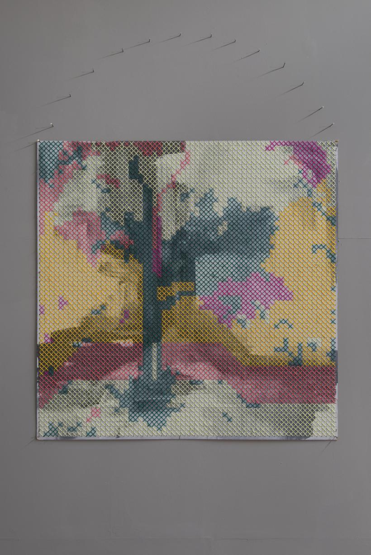 Proteus Landscape (Livia's fresco), 2016, peg board, wool, paint, 100 x 100  cm