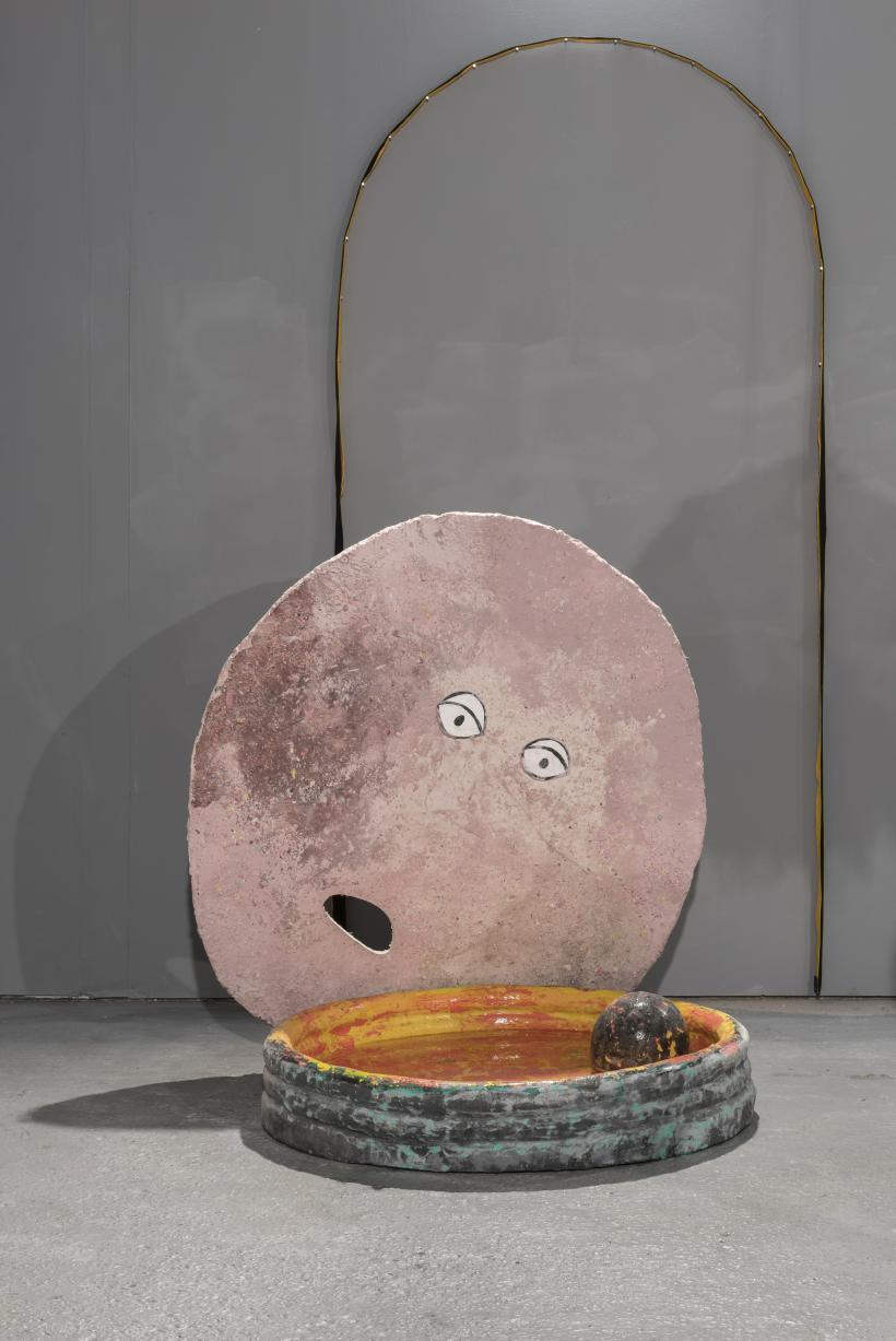 The Mouth of Truth (formally The Moon), 2014, jesmonite, dust from the W's, dimensions variable