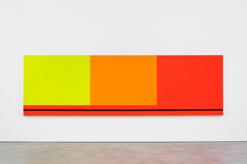 Peter Halley, Three Sectors, 1986, acrylic, fluorescent acrylic on canvas, 148 x 488 cm, 58 1/4 x 192 1/8 ins.