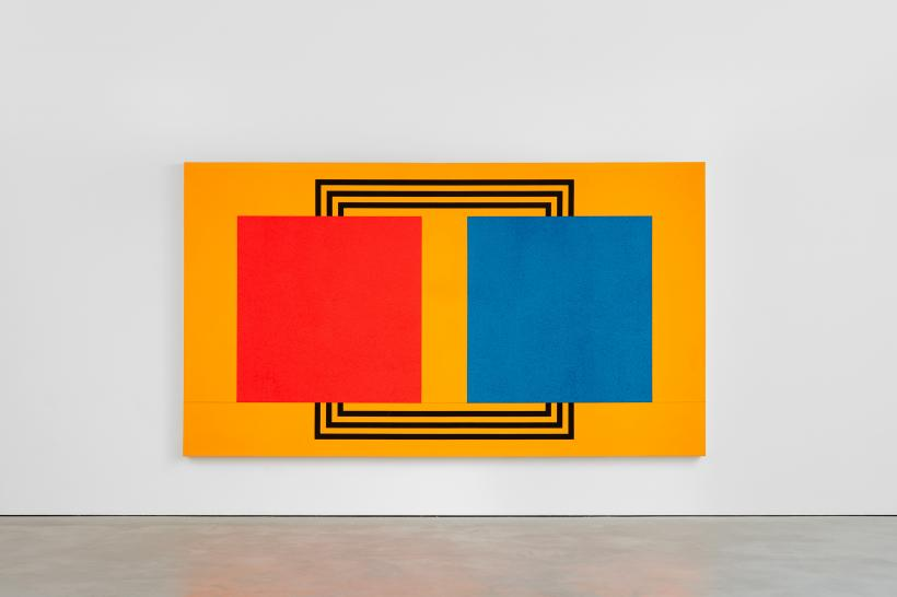 Peter Halley, Two Cells With Circulating Conduit, 1987, acrylic, fluorescent acrylic, Roll-a-Tex on canvas, 196 x 351 cm, 77 1/8 x 138 1/4 ins.
