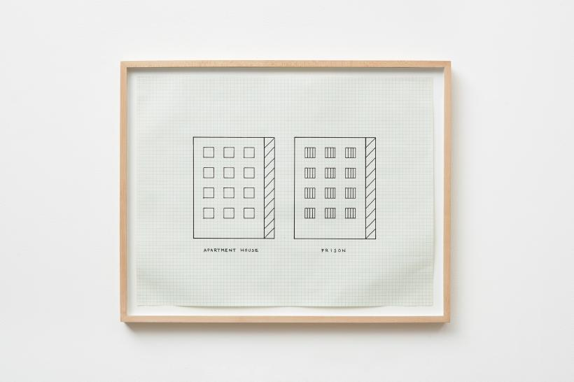 Peter Halley, Apartment House, Prison, 1981, ink on graph paper, paper size: 43.2 x 55.9 cm, 17 x 22 ins.