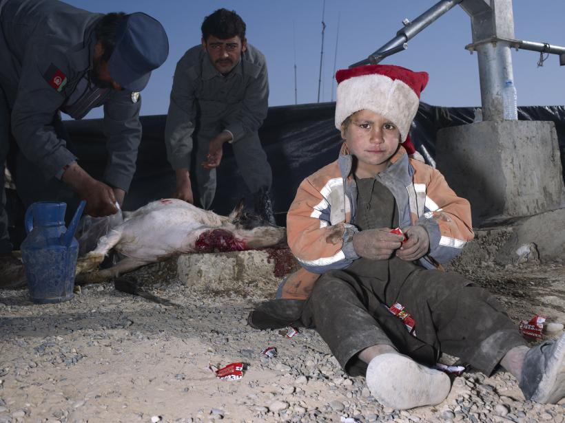 Mark Neville, Child, Jacket, Slaughtered Goat, Sweets, Painted Nails, Xmas Day, Helmand, 2010