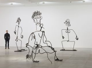 Tim Noble and Sue Webster, STICKS WITH DICKS AND SLITS, 2017, Installation view