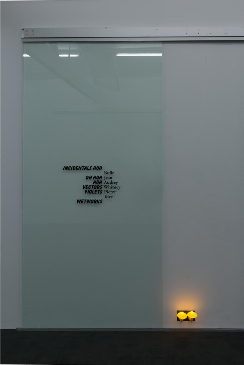 Name, 2016, Ghislaine Leung. Double pane glass, extruded aluminium, vinyl, stickers. 247 x 648cm