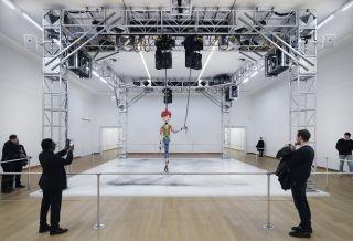 Installation view Jordan Wolfson: MANIC / LOVE. Photo: Gert Jan van Rooij. Collection LUMA Foundation.