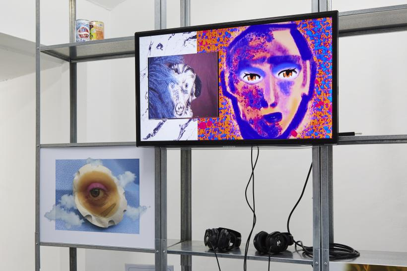 Feral Kin, Auto Italia South East (2017). Installation detail (left to right): Billy Howard Price, Taut Pupil (2017). Digital print. Jaakko Pallasvuo, MASK (2016) written by Huw Lemmey & Jaakko Pallasvuo. Single channel video.