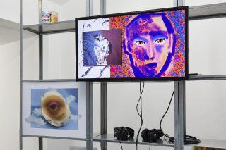 Feral Kin, Auto Italia South East (2017). Installation detail (left to right): Billy Howard Price, Taut Pupil (2017). Digital print. Jaakko Pallasvuo, MASK (2016) written by Huw Lemmey & Jaakko Pallasvuo. Single channel video.