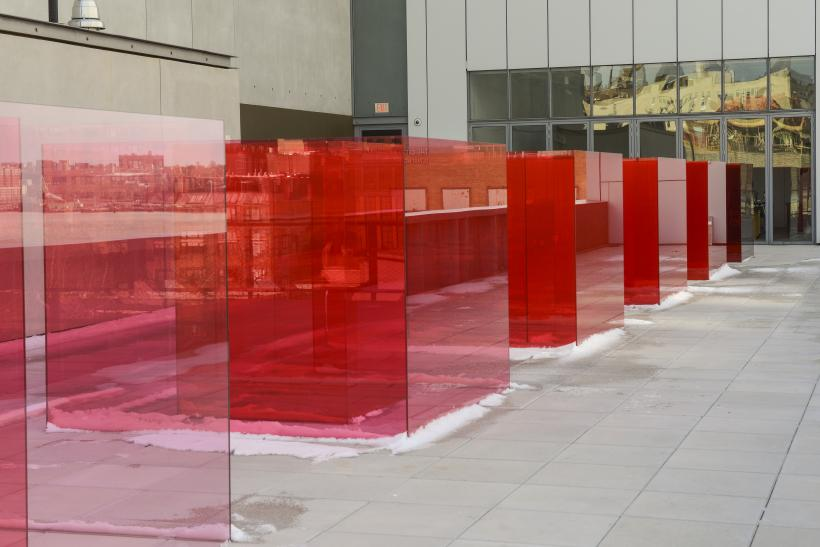 Installation view of Larry Bell, Pacific Red II, 2017. Whitney Biennial 2017, Whitney Museum of American Art