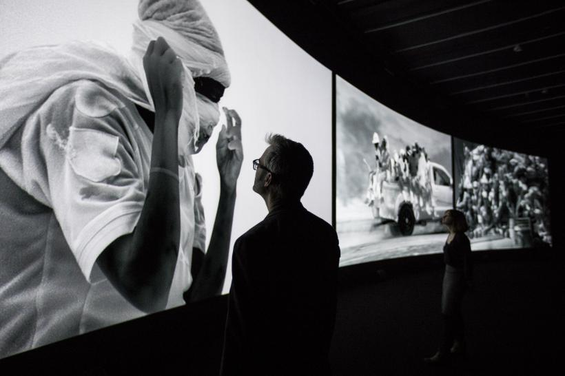 Installation View, Richard Mosse in collaboration with Trevor Tweeten and Ben Frost, The Curve, Barbican Centre, 15 Feb - 23 Apr 2017