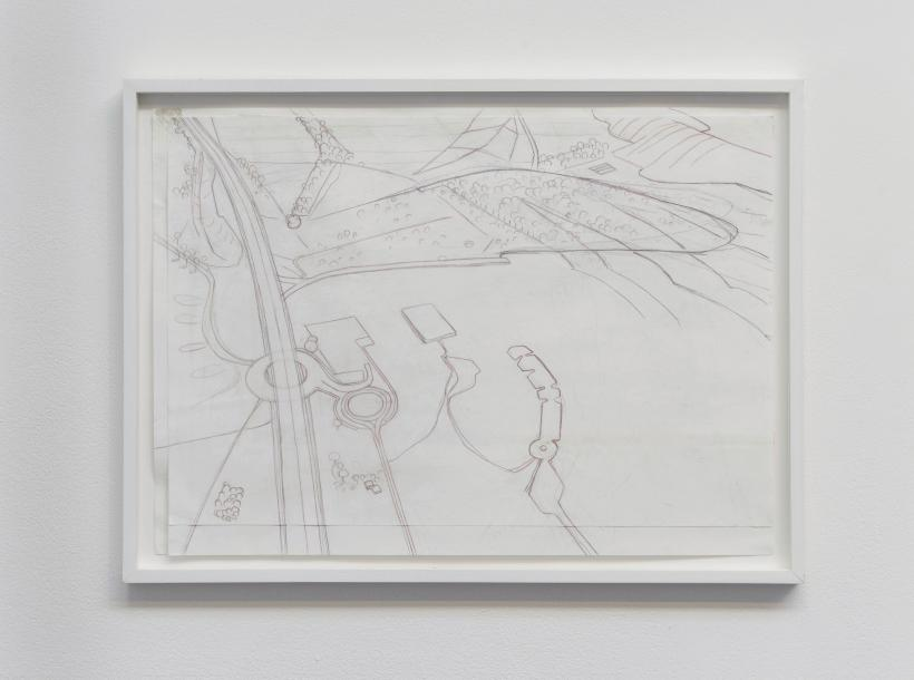 Carol rhodes, development centre, roads, framed drawing, 50 x 70 cm, 2010.