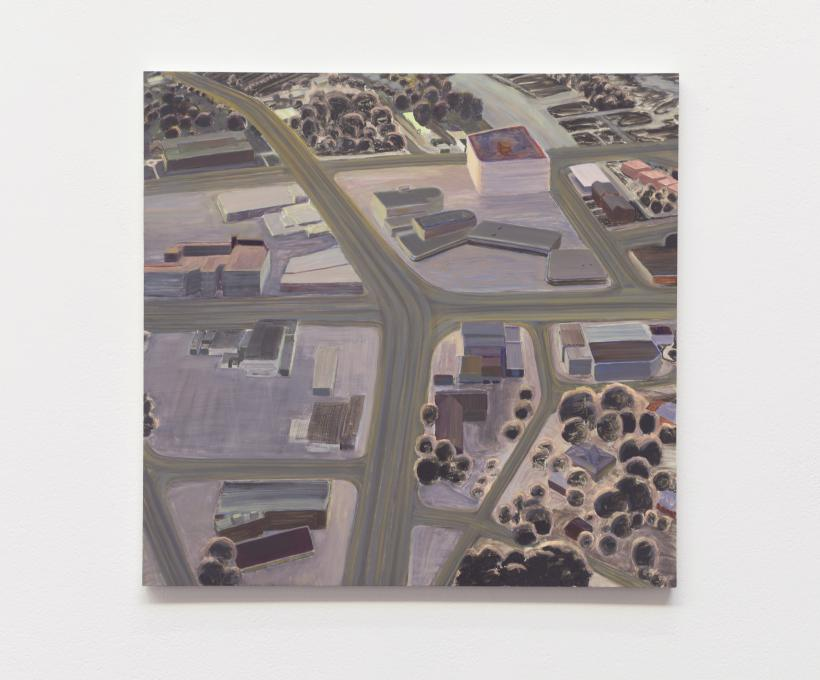 Carol rhodes, roads, buildings (evening), oil on board, 51 x 53.5 cm, 2013, courtesy of toby treves.