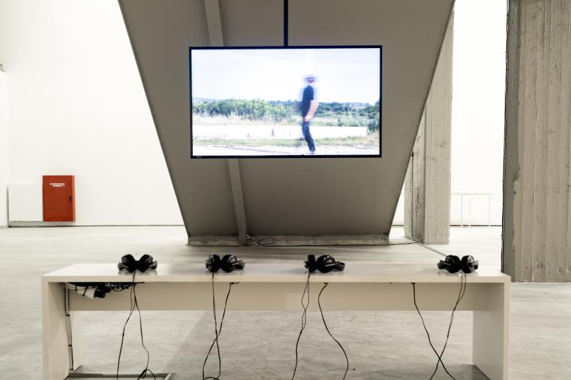 Hiwa K, Pre-Image (Blind as the Mother Tongue), 2017, digital video, installation view, Athens Conservatoire (Odeion), documenta 14