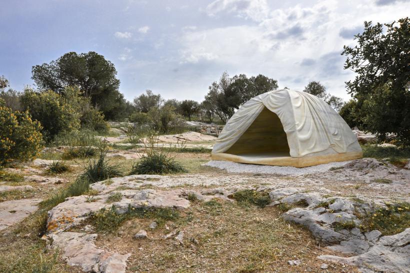 Rebecca Belmore, Biinjiya'iing Onji (From inside), 2017, marble, Filopappou Hill, Athens, documenta 14