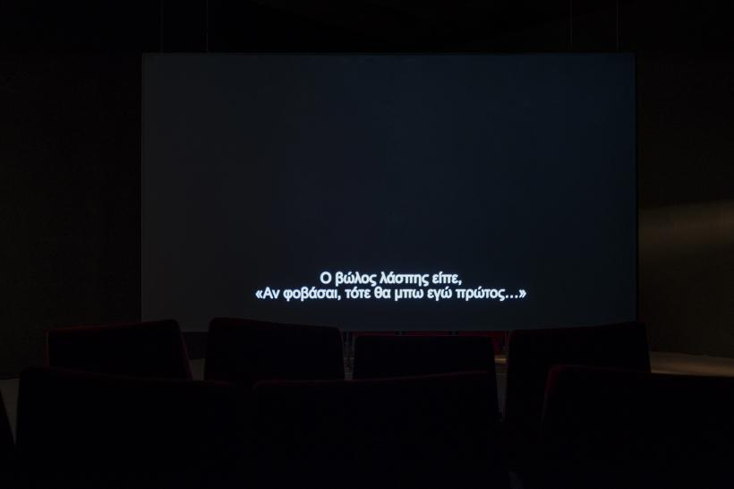 Susan Hiller, The Last Silent Movie, 2007–08, two-channel video installation, Athens Conservatoire (Odeion), documenta 14