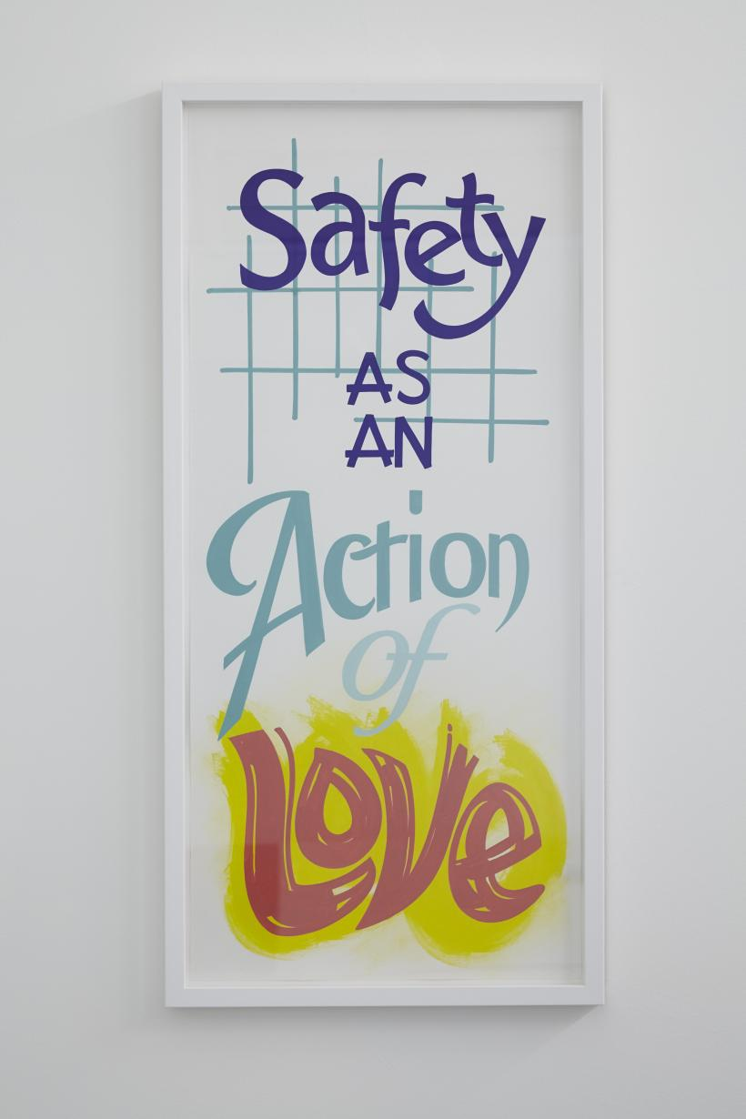Safety as an action of love, 2017, painted poster, 94.5 x 45 cm
