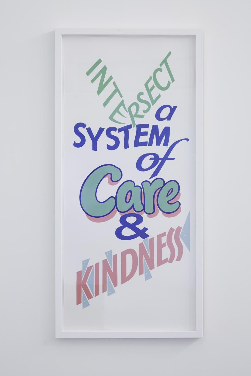 Intersect a system with care and kindness, 2017, painted poster, 94.5 x 45 cm