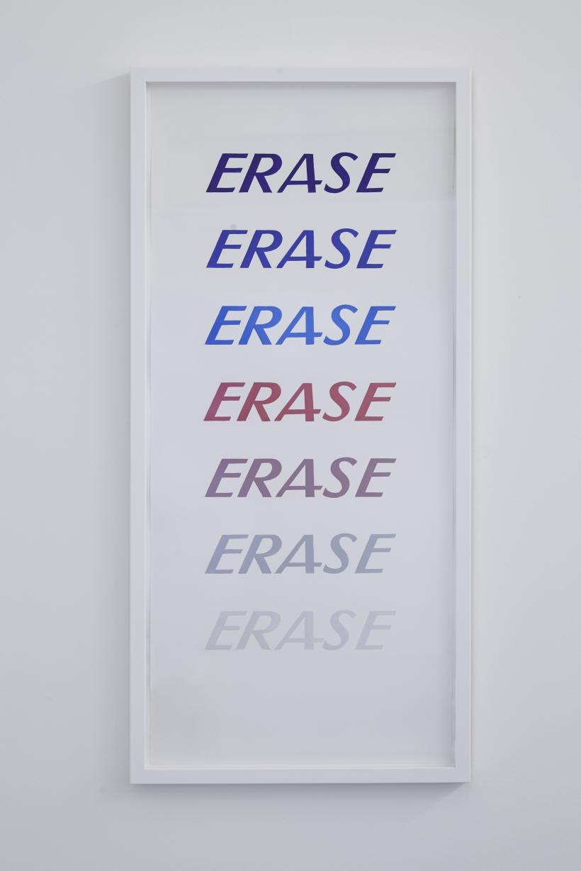 Erase, 2017, painted poster, 94.5 x 45 cm