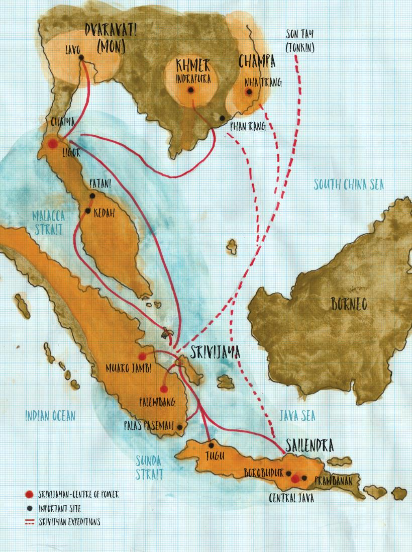The Srivijaya empire stretched across modern-day Southeast Asia. Map by Zai Kuning, 2017