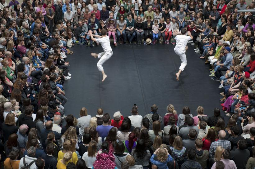 Boris Charmatz and Dimitri Chamblas in À bras-le-corps by Boris Charmatz. As part of BMW Tate Live: If Tate Modern was Musée de la danse? Tate Modern.