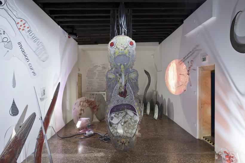 Katja Novitskova, If Only You Could See What I've Seen with Your Eyes, exhibition view at the Estonian Pavilion, Palazzo Malipiero, 57th Venice Bienniale