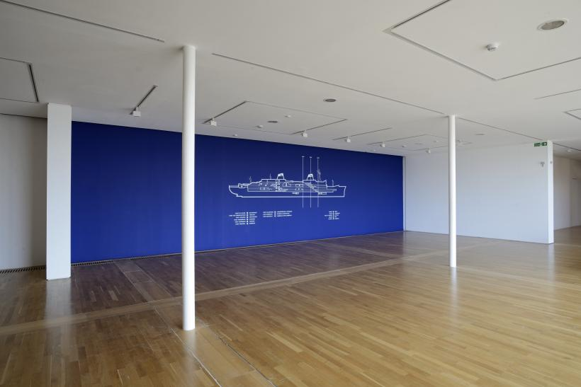 Installation shot of Simon Patterson: Safari: an exhibition as expedition featuring Monkey Business, 1993