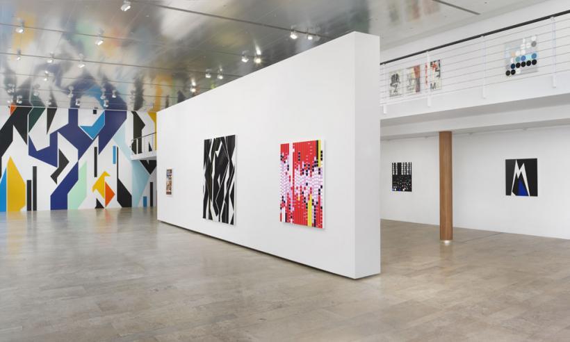 "Installation view: Sarah Morris, ""Cloak and Dagger"""